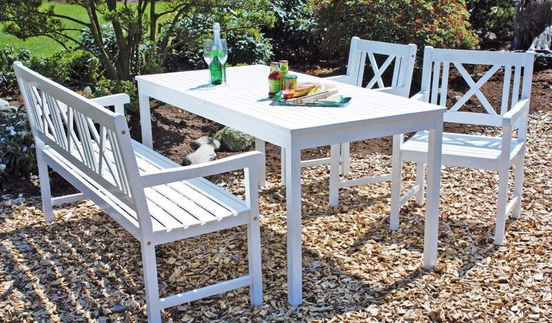 stuhl tisch bank gartenset weiss malm akazie holzgartenm bel garten weisser ebay. Black Bedroom Furniture Sets. Home Design Ideas